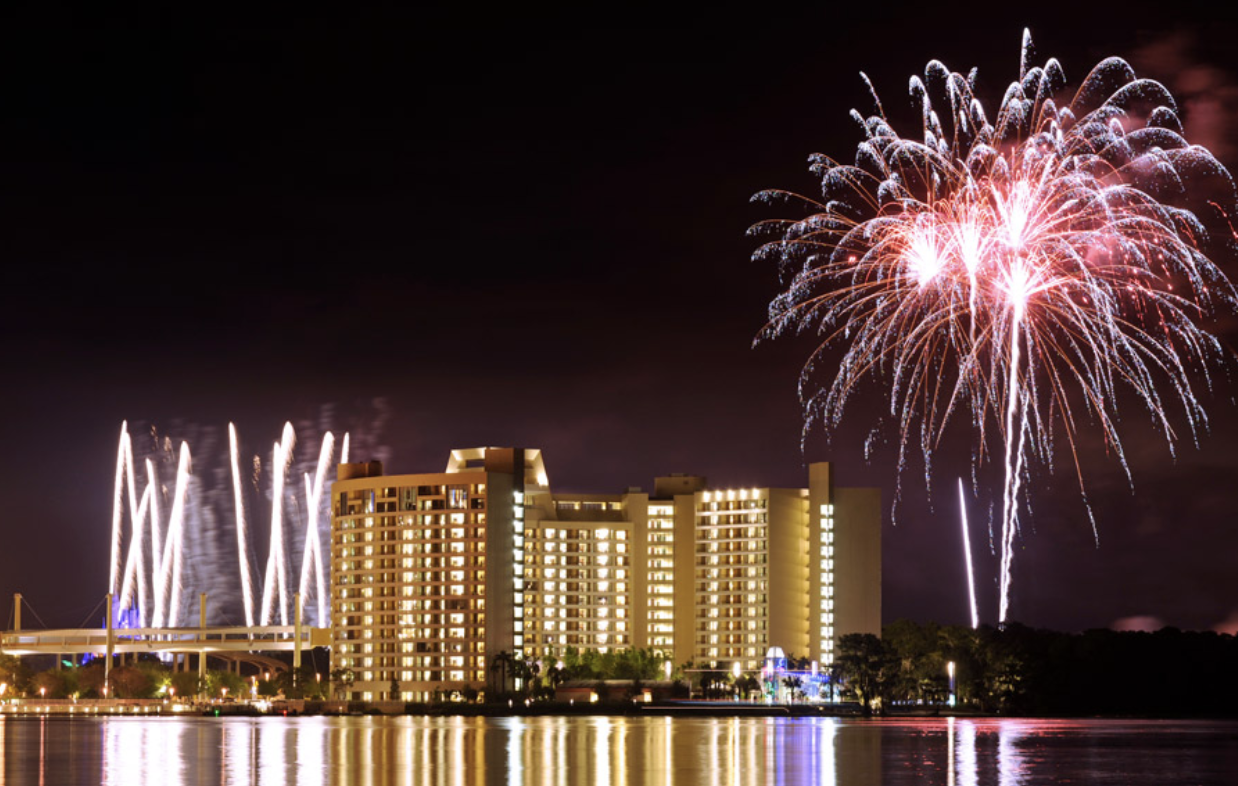 Contemporary Resort backlit with fireworks