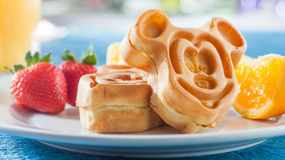 Breakfast platter featuring Mickey shaped waffles