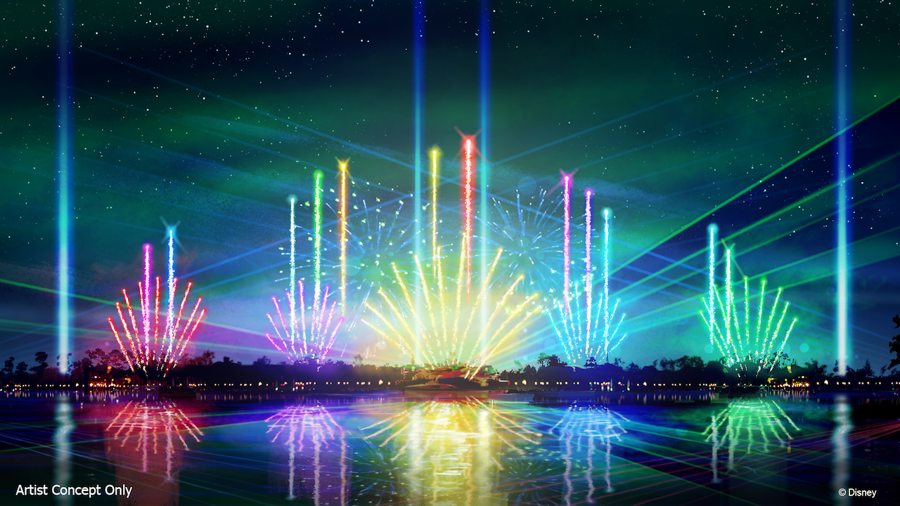 multi-colored lasers light up the water in Epcot