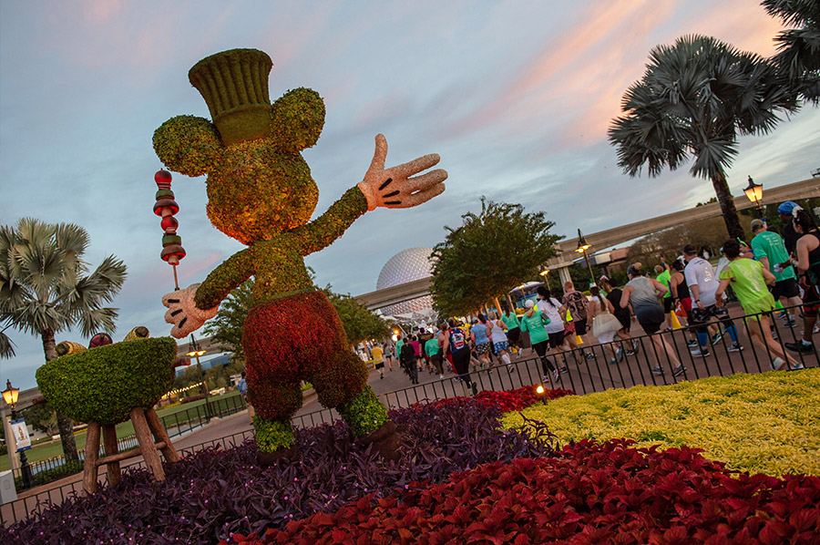 Mickey topiary near entrance to Epcot
