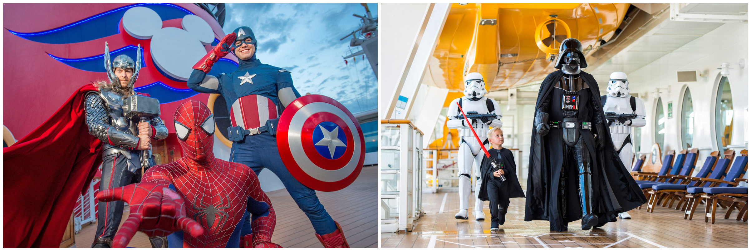 Star Wars and Marvel characters posing