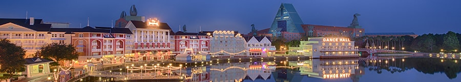 Disney's Boardwalk at night